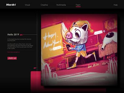 Hello 2019 dog pig festival web poster illustration