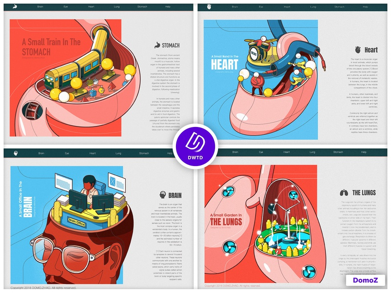 DWTD-2018-Human organ lungs brain heart stomach human body character monster web poster illustration