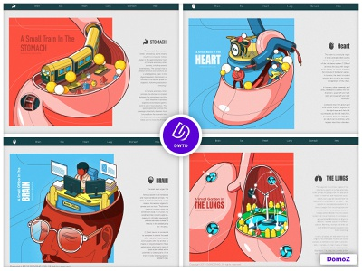 DWTD-2018-Human organ lungs brain heart stomach human body character monster web poster illustration