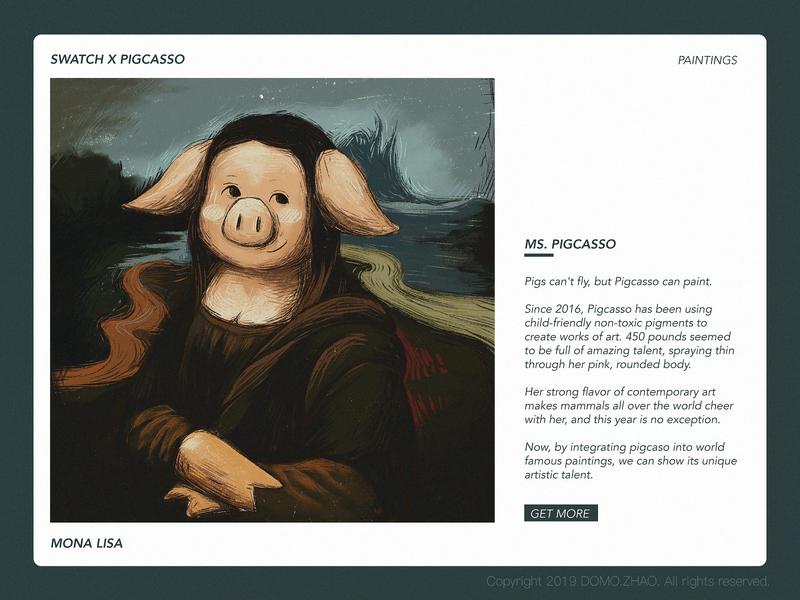 Mona Lisa piggy pig paint monalisa mona character web poster illustration