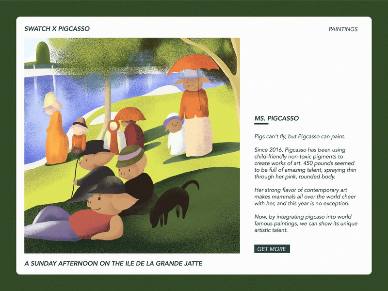 Sunday Afternoon sun lake garden afternoon sunday piggy pig family character festival web poster illustration