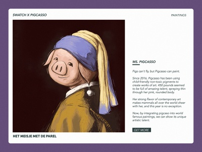 Girl With A Pearl Earring girl character pig piggy pearl girl character web poster illustration