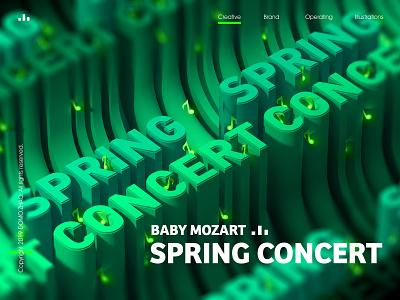 Spring Concert c4d spring music festival web poster illustration