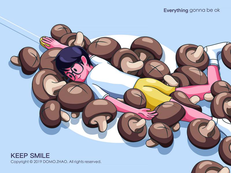 Mushrooms Boy mushrooms smile smiley face character web poster illustration