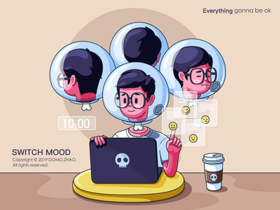 Switch mood vector office brain family chinese character festival web poster illustration