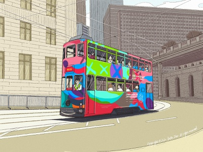 Street bus bus street character festival web poster illustration