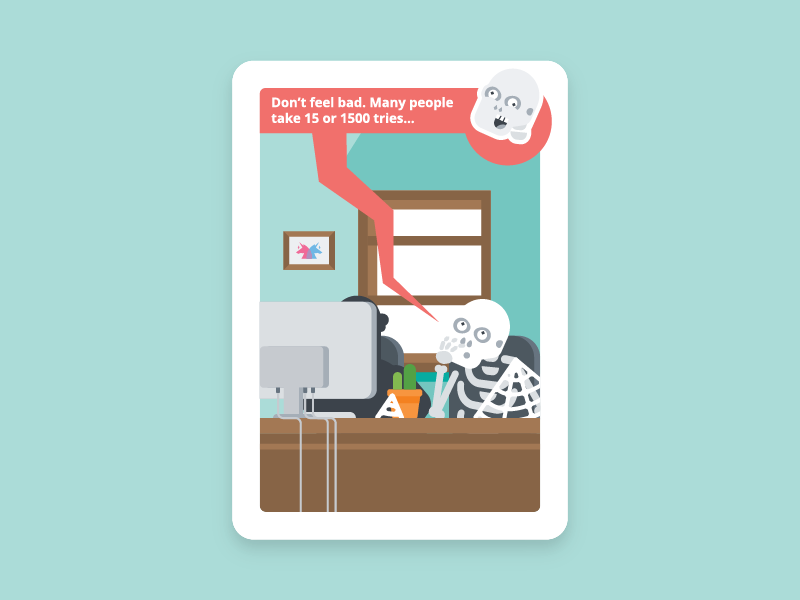 Usability Toolkit - It's gonna be over soon.. (4/17) waiting skeleton office funny situation card illustration ux usability usability lab