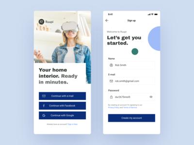 Interior Design VR App - Onboarding