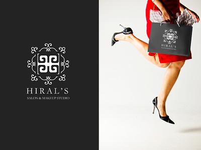 Branding for a Salon & MakeUp Studio motifs swirls feminine white black design ornamental salon hiral letterh branding logo