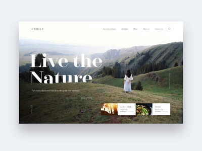 Cubile screen green nature landscape view mountains mountain hotel animation webdesign design ux ui web