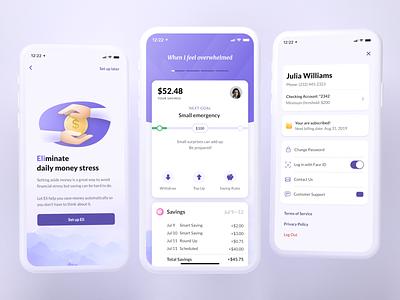 Eli: Save Money Automatically purple finance app finances finance savings saving uiux ui mobile app ios