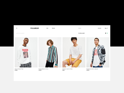 PULL&BEAR – Mobile UI/UX Redesign Concept ux interaction ui design redesign concept typography fashion bear pull t-shirt website shop minimalistic minimal layout item ecomerce clean  creative clean