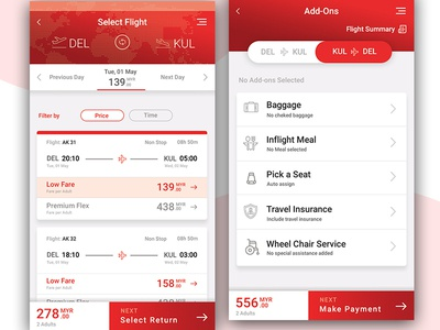 Flight booking App - Flight list and Preferences screens