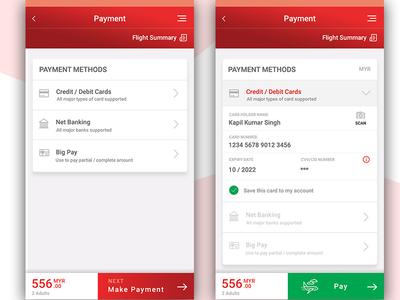 Flight booking App- Payment screens