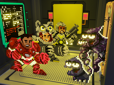 POWERUP attack of the BUGs pixelart voxel attack bugs
