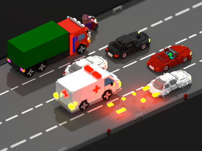 Voxel Car chase cars voxel art