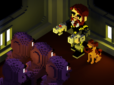 Voxel POWERUP RAY and Leiadadog powerup voxel
