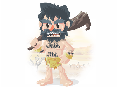 CaveMan design board game illustration vector coreldraw illustrator
