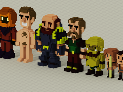Dungeon Characters in Voxel voxel art voxel dungeon