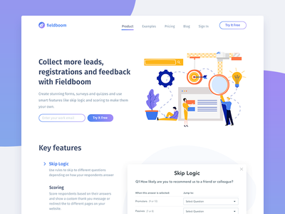 Fieldboom Product Page form builder tool web design website landing page