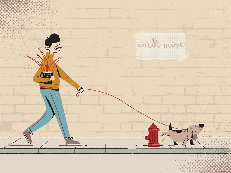 Walk More illustration flat design character streets dog boy walking