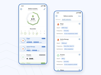 Create & Track Goals — Health App app health health app healthcare goal motivation ux ui clean ui mobile app mobile fitness analytics
