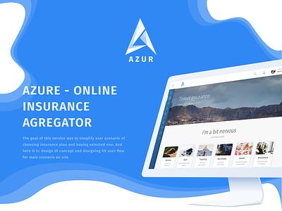Azure | Online Insurance Agregator travel design web service 2017 agregator insurance behance case user interface ux ui