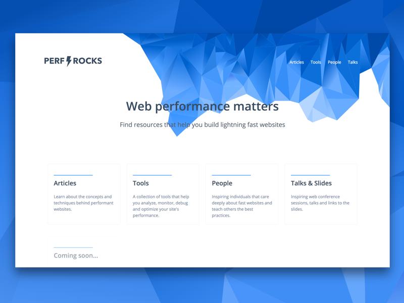 Perf Rocks website polygon performance tools ressources talks profile open sans