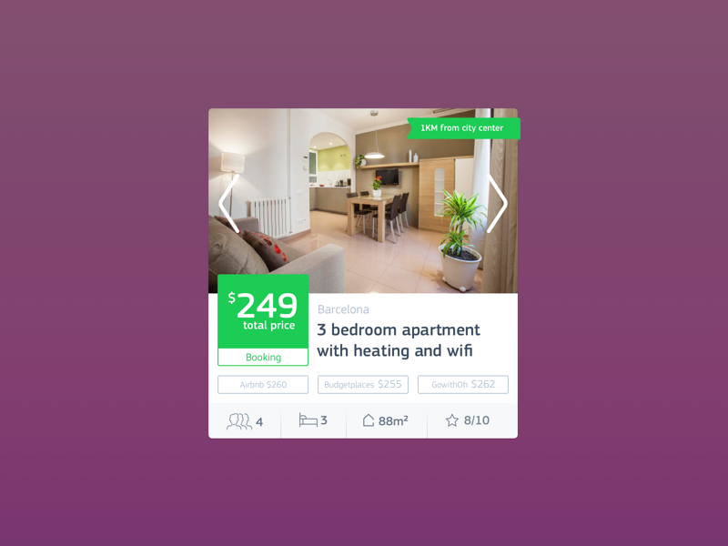 Apartment card component dribbble