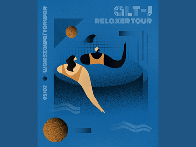 alt-J Relaxer Tour - concert promo poster live relaxer woman water pool musicians music concert poland altj alt-j