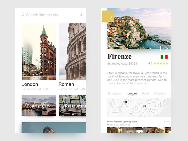 Travel Reference Design contracted white ux ui ios android travel