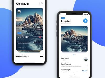 Travel app   iphone   x ui practice interface white travel