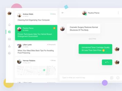Chat dashboard ux ui chat dashboard green app