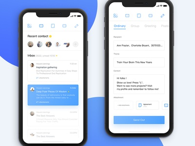 Inbox Mobile app   iphone   x ui practice interface white email