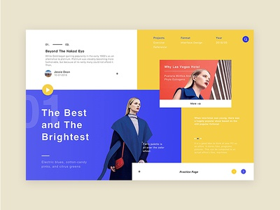 Fashion Page Exercise blue yellow website web ux ui startup shop interface app