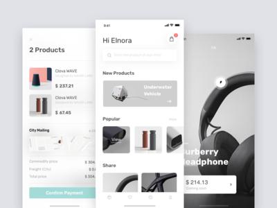 E-commerce  - Redesign white ux ui profile minimal interface discover clean app album