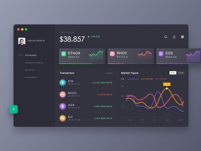 Virtual currency platform ui macos desktop dashboard interface dark application