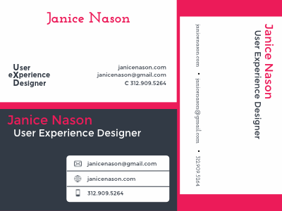 Business card variants gray grey pink montserrat josefin slab font layout business cards