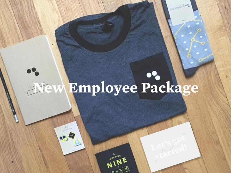 New Employee Swag Package design swag company socks tshirt pins branding