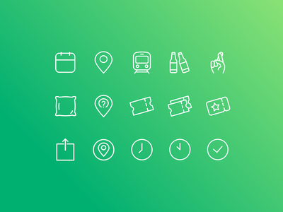 Icon Set promo code fingers crossed icon set ticket cushion bottle beer event gradient outline flat icon