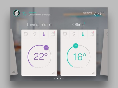 Smart Home smart home ui touch room tempetature humidity lights camera stats swiss