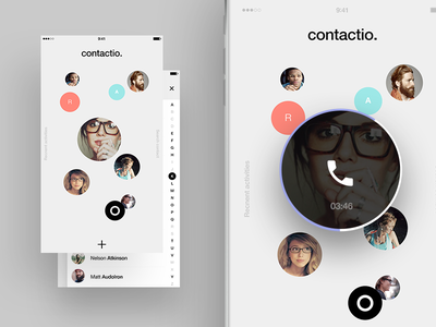 Contacts app concept ios iphone call profile avatar contact list app design ui interface
