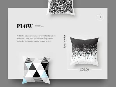PLOW mini eshop mininal pillow ui eshop ecommerce design web