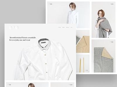 Luxury essentials - eshop shirt textile candle model fabric cloth simple minimal ui design shopping ecommerce