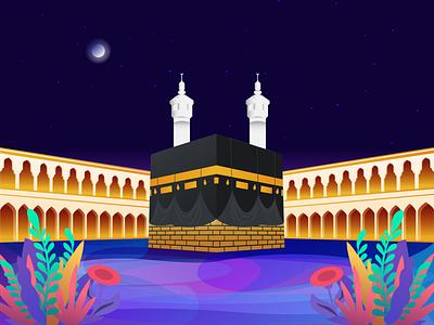 The Kaaba / Al-Kaʿbah natural wallpaper landing page illustration hero image gradient color illustration