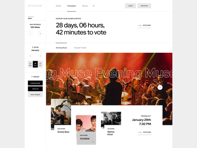 Crowdsourced Music Website app flat music webdesign typography website web ui ux visual design design minimal