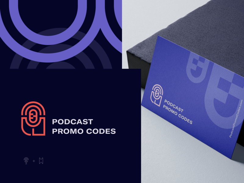 Logo Design promocode podcast illustration vector logo icon identity visual design typography minimal branding design