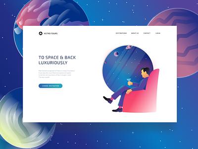 Astro Tours Home design space-travel space logo ux ui stars illustration branding