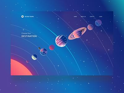 Astro Tours - Destination Selector ui  ux vector design typography space-travel space ux ui stars illustration branding