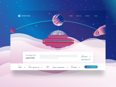 Astro Tours - Ticket Booking web spaced space illustration animation space-travel ux ui stars branding